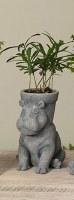 """7"""" Gray Hippo Planter Pot"""