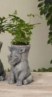 "7"" Gray Rhino Planter Pot"