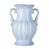 "11"" Light Blue Ribbed Ceramic Vase With Handles"