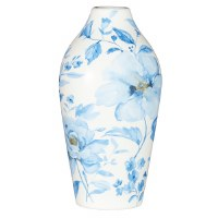 """8.5"""" White Ceramic Vase With Blue Watercolor Flowers"""