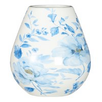 """6.5"""" White Ceramic Vase With Blue Watercolor Flowers"""