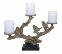 """11"""" Three Birds On Branches Triple Pillar Candle Holder"""