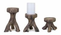 Set of 3 Resin Driftwood Pillar Candle Holders