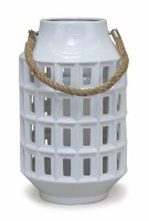 "18"" White Ceramic Lantern With Rope Handle"