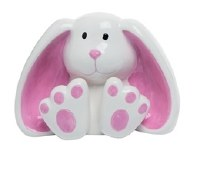 "6"" White and Pink Ceramic Big Foot Bunny Figurine"