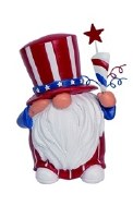 "5"" Red, White and Blue Uncle Sam Gnome With Cone and Star"