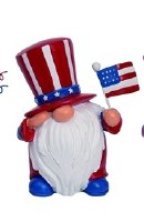 "5"" Red, White and Blue Uncle Sam Gnome With Flag"