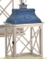 "23"" Antique White and Blue Wood and Metal Cross X Lantern"