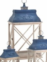 "17"" Antique White and Blue Wood and Metal Cross X Lantern"