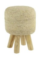 "20"" Round Natural Fabric Wood Stool"