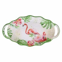 "11"" x 20"" Flamingo Scalloped Melamine Serving Platter"