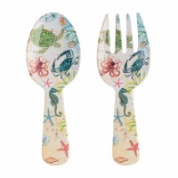"11"" Sealife Melamine Salad Server Set"