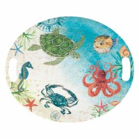"16"" x 20"" Oval Sealife Melamine Platter With Handles"