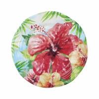 """9"""" Round Hibiscus Melamine Plate"""