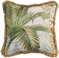 """17"""" Square Palm Tapestry Pillow With Fringe"""