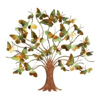"""25"""" Metal Aqua and Gold Butterfly Leaf Tree"""