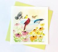 "6"" Square Quilling Songbirds Bird Bath Card"