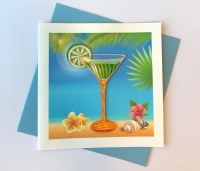 """6"""" Square Quilling Tropical Drink Card"""