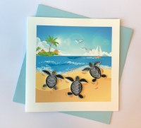 """6"""" Square Quilling Baby Turtle Beach Card"""