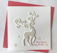 """6"""" Square Quilling White Deer and Snowflakes Holiday Card"""