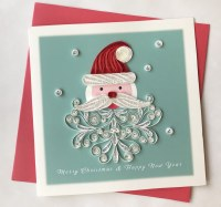 """6"""" Square Quilling Santa With Hat Holiday Card"""