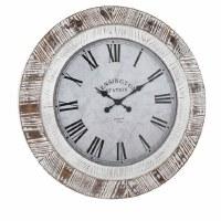 """32"""" Round White Washed Wood Clock"""