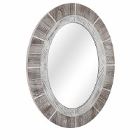 """38"""" Oval White Washed Wood Mirror"""