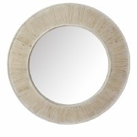 """35"""" Round White Washed Wood Mirror"""