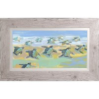 """27"""" x 47"""" Blue and Green Baby Sea Turtles Framed Gel Print"""