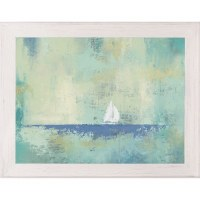 """30"""" x 42"""" Blue and Green Abstract Sailboat Framed Gel Print"""