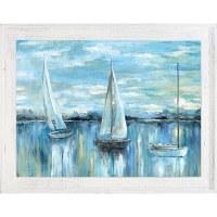 """37"""" x 47"""" Blue Sailboat Trio Framed Gel Print"""