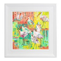 """37"""" Square Multicolor Abstract Ibis Framed Gel Print"""