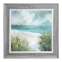 "44"" Square Beach Fence Dune Framed Gel Print"