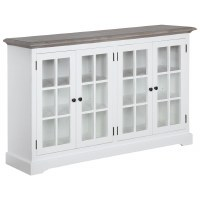 """62"""" Distressed White Credenza With Gray Top and Four Glass Doors"""