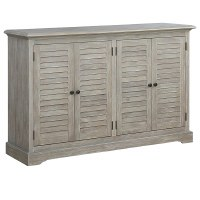 """62"""" Gray Plantation Shutter Credenza With Four Doors"""