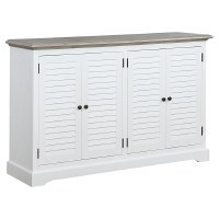 """62"""" Antique White Plantation Shutter Credenza With Gray Top and Four Doors"""