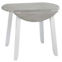 """36"""" Round White and Gray Oyster Bay Dropleaf Table"""