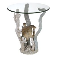 "20"" Round Multicolor Turtle Ocean Accent Table"
