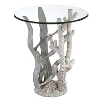"20"" Round White and Gray Fish Ocean Accent Table"