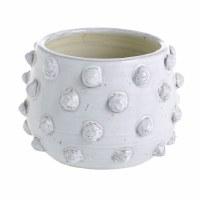 "7"" Round White Ceramic Dotted Pot"