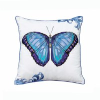 """20"""" Square Bold Blue Butterfly Embroidered Pillow"""