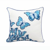 """20"""" Square Blue Butterflies in Flight Embroidered Pillow"""