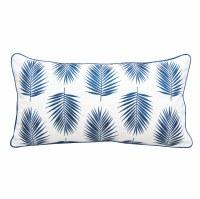 """12"""" x 22"""" Dark Blue Palm Pattern Lumbar Pillow"""