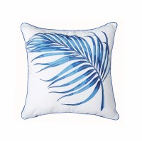 """18"""" Square Blue Palm Frond Embroidered Pillow"""