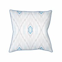 """18"""" Square Gray and Blue Ikat Chic Pillow"""