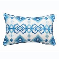 """12"""" x 22"""" Aqua and Blue Coastal Ikat Lumbar Pillow"""