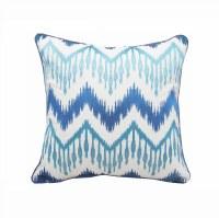 "18"" Square Aqua and Blue Chevron Ikat Pillow"