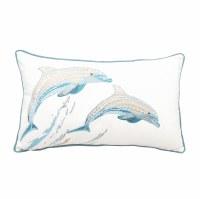 """12"""" x 18"""" Tan and Blue Tribal Dolphin Lumbar Pillow"""