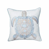 """20"""" Square Blue and Tan Tribal Turtle Pillow"""
