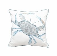 """20"""" Square Blue, Green and Tan Tribal Crab Pillow"""